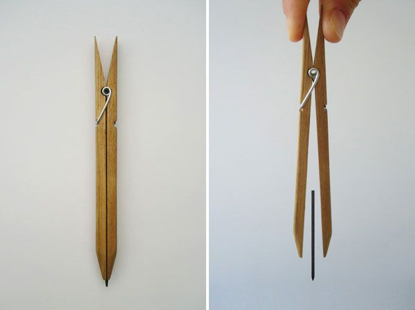 A simple but innovative design of a modern pencil by Yuta Watanabe, basically using a modified clothes peg to hold a pencil lead in place.