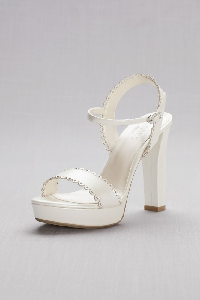 03fd59a3b8f7d Pearlized Platform Sandals with Scalloped Edges Style ASIA, Ivory, 9.5
