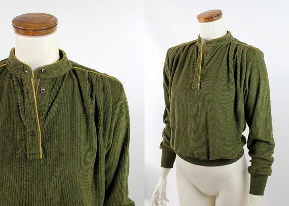 Vintage 80s  Olive Green Ribbed Soft Corduroy  by starlingdarlin