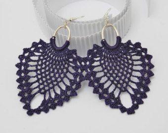 Long crochet earrings  Chain earrings  Red jewelry  Extra