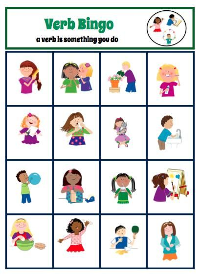 Bingo is a great game that can target a wide range of literacy skills and concepts, expressive/receptive language, social skills, and problem solving abilities. This game works on identifying verbs! This is a great way to target academic skills for even lower level learners and build vocabulary. by theautismhelper.com