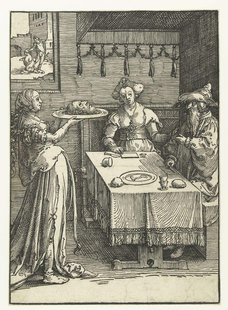 Lucas van Leyden | Salomé met het hoofd van Johannes de Doper, Lucas van Leyden, 1515 - 1519 | Salomé met het hoofd van Johannes de Doper op een schaal, Herodias en Herodes aan tafel gezeten. Op de achtergrond onthoofding van Johannes.