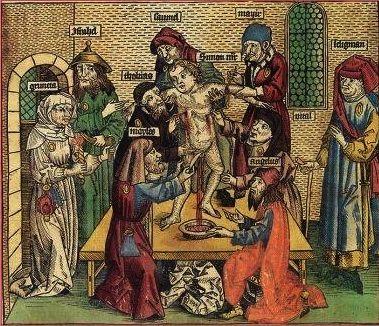En 1250, Thomas de Cantim (théologien ayant vécu de 1201 à 1272) reprend à son compte la rumeur des crimes rituels. Une mythologie purement d'inspiration antisémite prétendait que, le sang des enfants chrétiens servait aux Juifs pour ses propriétés curatives. .