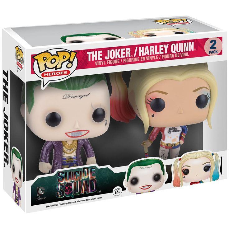 Suicide Squad - The Joker / Harley Quinn Vinyl Figures  - samlarfigur - begränsad utgåva - metallisk look - höjd ca. 10 cm - vinylfigurer  Jokern och Harley Quinn är kanske ett av de mest udda paren i historien. Men paradisfåglarna har definitivt några saker gemensamt: deras kärlek för våld och deras tendens till galenskap. Njut av närvaron av det galna paret och få dem levererade hem till dig: 10 cm höga vinylfigurer från Funko Pop!. Se till att de inte spränger något!