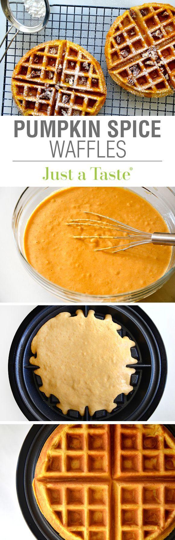 Pumpkin Spice Waffles Recipe viaAdd a seasonal spin to a breakfast favorite!
