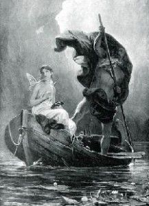 Psyche (the soul) crossing the river Styx