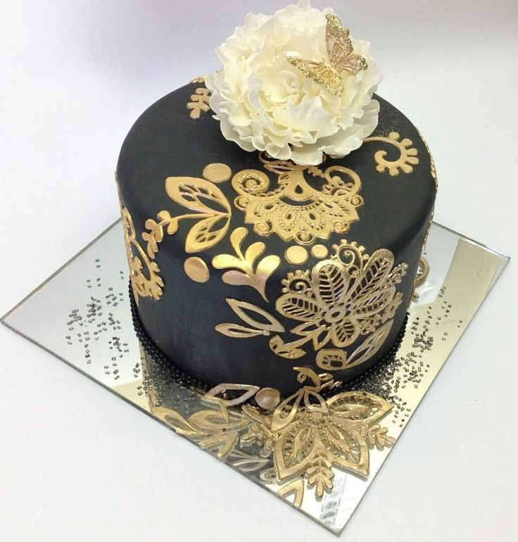 Mini Black Cake w/Gold Decoration, Ruffled Flower & Gold Butterfly...<3DECADENT<3
