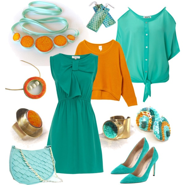 "necklace and rings: azulado.etsy.com earrings: velanch.etsy.com dress: DorothyPerkins bag: starbags.etsy.com necklace and mermaid earrings: FishesMakeWishes.etsy.com    ""We all need a little sunshine"" by dorijanki on Polyvore"