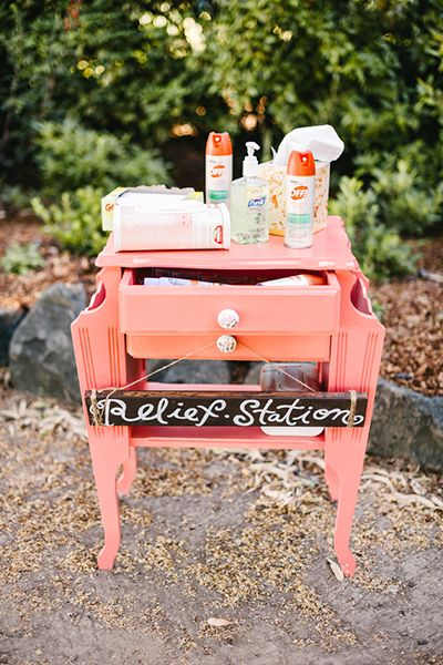 Create a relief station armed with bug spray, sunscreen, and hand sanitizer so your guests can enjoy your big day. From #BridalGuide #WeddingIdeas #WeddingReception #WeddingReliefStation
