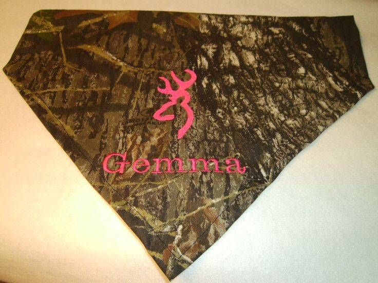 Dog Bandana, Camo bandana, Pink Name, Monogram, Embroidery Bandana Mossy Oak Over the Collar -Hunting by debsattic2 on Etsy