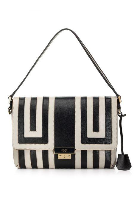 Anya Hindmarch's Ebenezer Shoulder BagShoulder Bags, Anya Hindmarch, Black White, Awesome Handbags, Grey Ebenezer, Resorts 2013, Leather Totes, Ebenezer Shoulder, Fashion Operandi