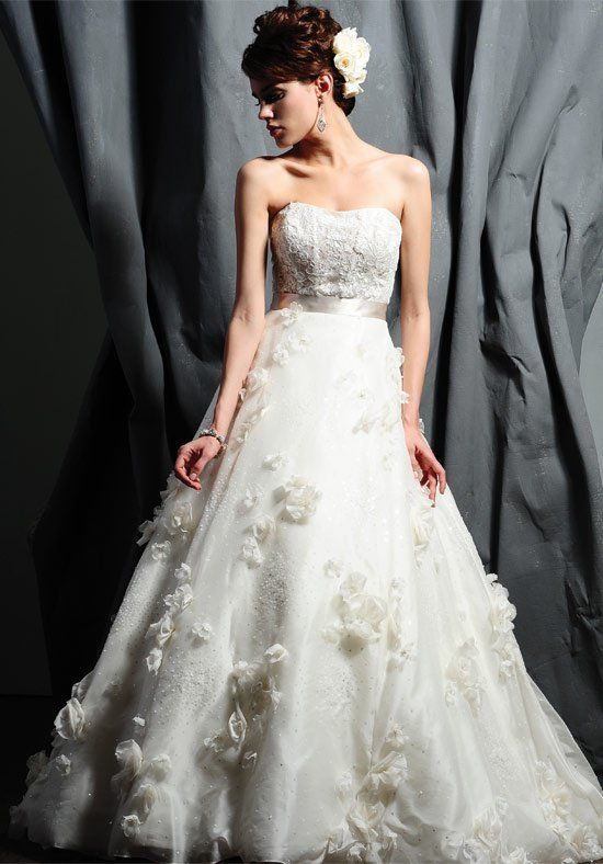 Style 4182 by Saison Blanche Couture. A glamorous Luxe Silk Organza Ball gown that features a modern sheer Imported Lace bodice and has been delicately hand-beaded with Swarovski Crystals. l TheKnot.com