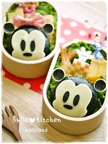 ミッキー&ミニーちゃんおにぎり*キャラ弁 - 簡単に作れるミッキーマウス&ミニーマウス♪   キャラ弁まにあ