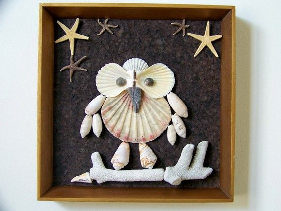 Seashell Owl Wall Decor Framed The Midnight Owl by PattiStyle