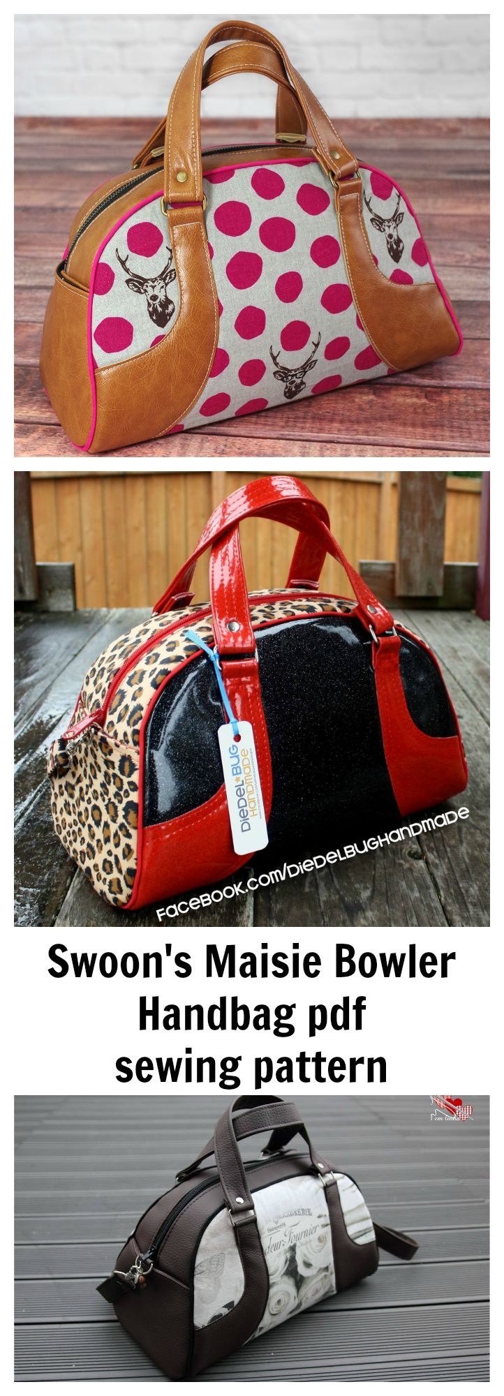 Here is Swoon's Maisie Bowler Handbag downloadable pdf sewing pattern.