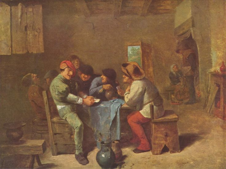 Peasants Playing Cards by Adriaen Brouwer