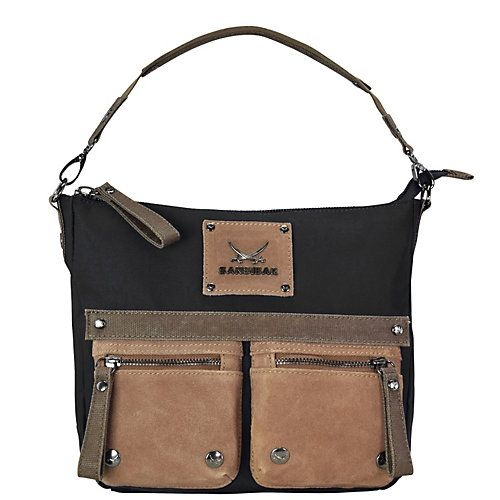 Sansibar Colla Handtasche Leder 30 cm schwarz Damen