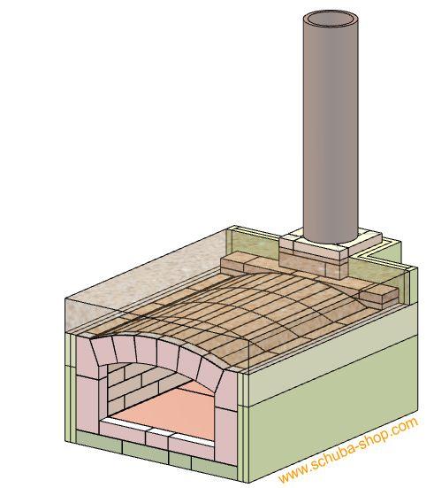 Bauplan für Steinbackofen Schuba®SBO-1, farbig, Papierformat ca. 840x1200mm