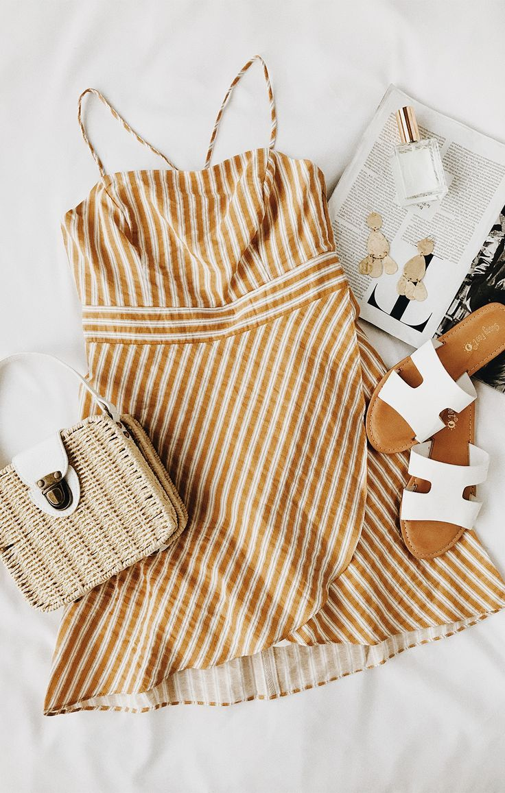 42427c57959 Central Park Yellow and White Striped Dress