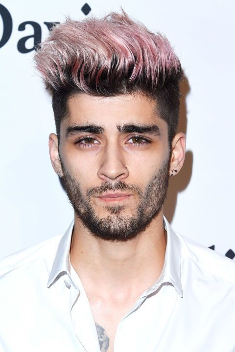 Zayn Malik  Pink isn't just for girls, as Malik's bright tips prove. / http://www.elle.com/beauty/hair/g29109/rose-gold-hair-color/