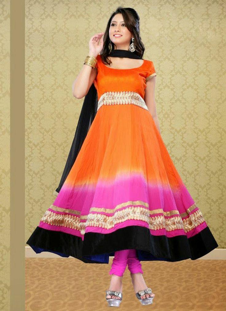Multi Faux Georgette Party Wear Churidar Suit Shop now : http://www.cfashionbazaar.com/