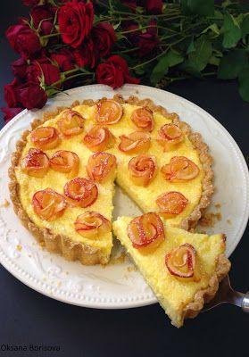 Творожный пирог с розами