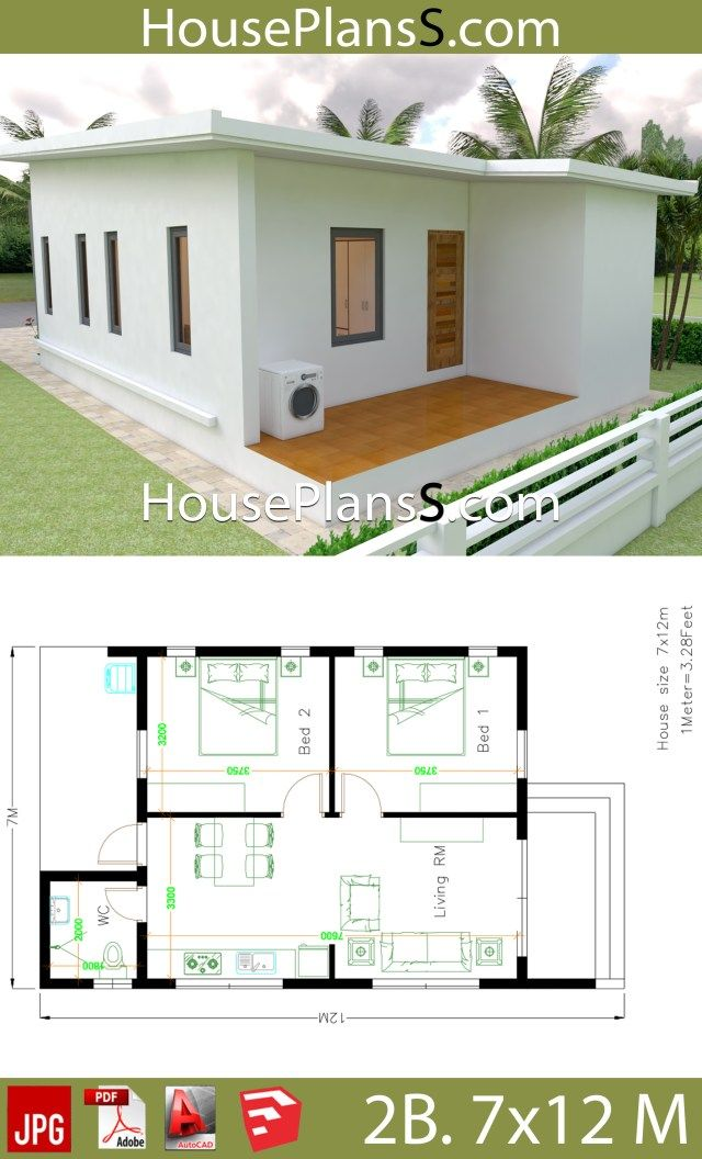 Small House Design Plans 7x12 With 2 Bedrooms Full Plans House Plans 3d Small House Design Plans Small House Design Village House Design