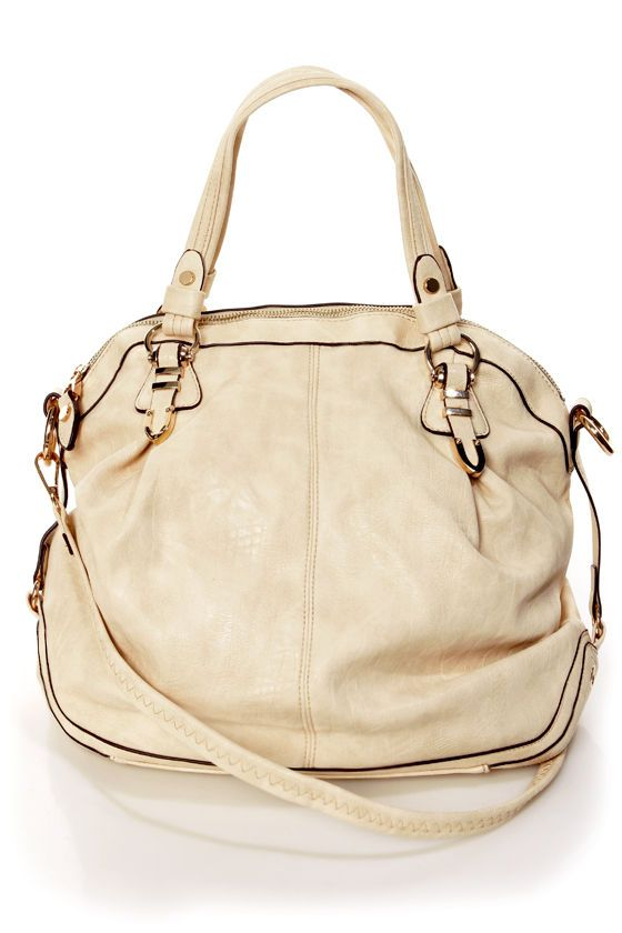 Chic Cream Handbag - Purse by Urban Expressions - Oversized Handbag