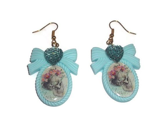 Mint Green Skull and Flower Earrings, Pastel Cameo Floral Dangle Earrings