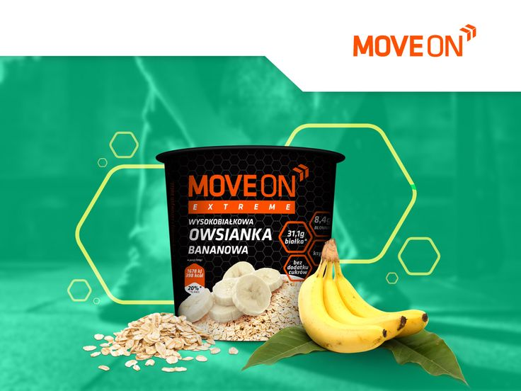 Owsianka wysokobiałkowa bananowa 100g. | Porridge with whey protein - banana. #moveon #moveonpl #moveonsport #sport #protein #high #banana #fruits #nutrition #athlete #fiber #energy #food #healthy #diet #work #owsianka #fitmeal