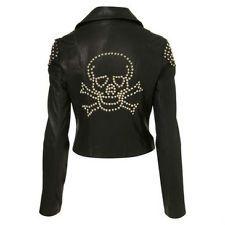 Top Shop Studded Skull Black Leather Biker Jacket coat sz 2