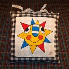 Malovaný polštář Slunce 35 x 35 cm