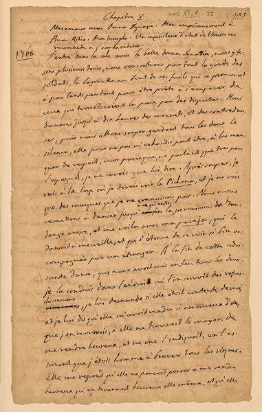 """Giacomo Casanova, Histoire de ma vie, manuscrit, chapitre V: """"Mes amours avec Donna Ignazia…"""" (danser le fandango), 1789-1798, BnF, Département des Manuscrits, cote NAF 28604 (9) - fol. 77.  Discover the coolest shows in New York at www.artexperience..."""