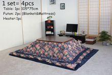(4 teile/satz) japanischen Kotatsu setzt Tisch Futon Heizung Wohnzimmer Möbel Kotatsu Abdeckung & Vliesdecke niedrigen beheizten Massivholz Tisch 105 cm(China (Mainland))