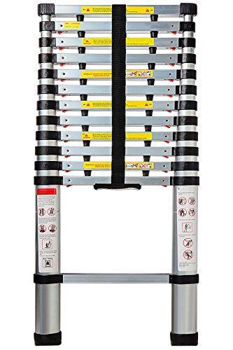 Aluminum Telescoping Ladder 12.5 FT Professional Heavy Duty Extendable Telescope Light Weight Multi-Purpose - 330 LB Capacity.