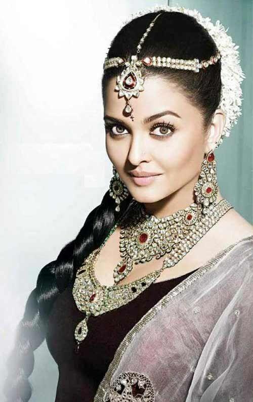 The Jeweled Indian Bridal Hairstyle #aishwaryarai