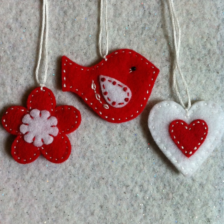 Red and White felt ornaments pretty on both sides. $6.00, via Etsy.
