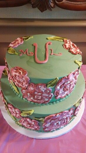First Impression Monogrammed Birthday Cake