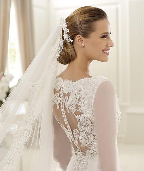 Classy lace retro wedding dress with turtleneck long for Long sleeve turtleneck wedding dress