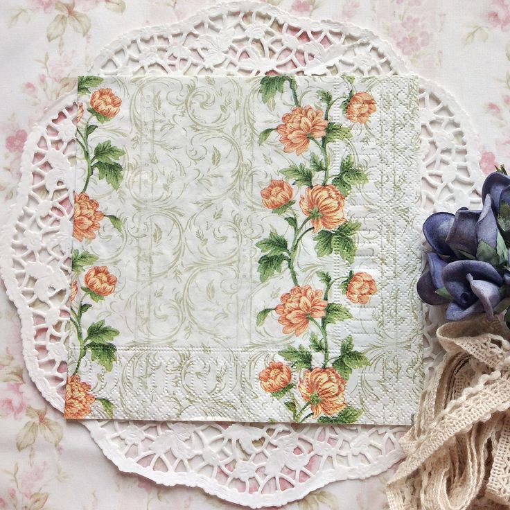 Napkin Papers Serviettens Decoupage Tissue  Orange Flower 33x33 cm (1/4 folded)  IDR 15.000/pc Send me your inquiry to yufihandcrafted@gmail.com   Shabby Chic Victorian Cottage Vintage Retro Rose Floral Flower Paper Napkins   And get a special discount on bulk order!