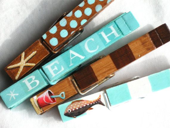 AT THE BEACH hand painted magnetic clothespin set by SugarAndPaint, $10.00