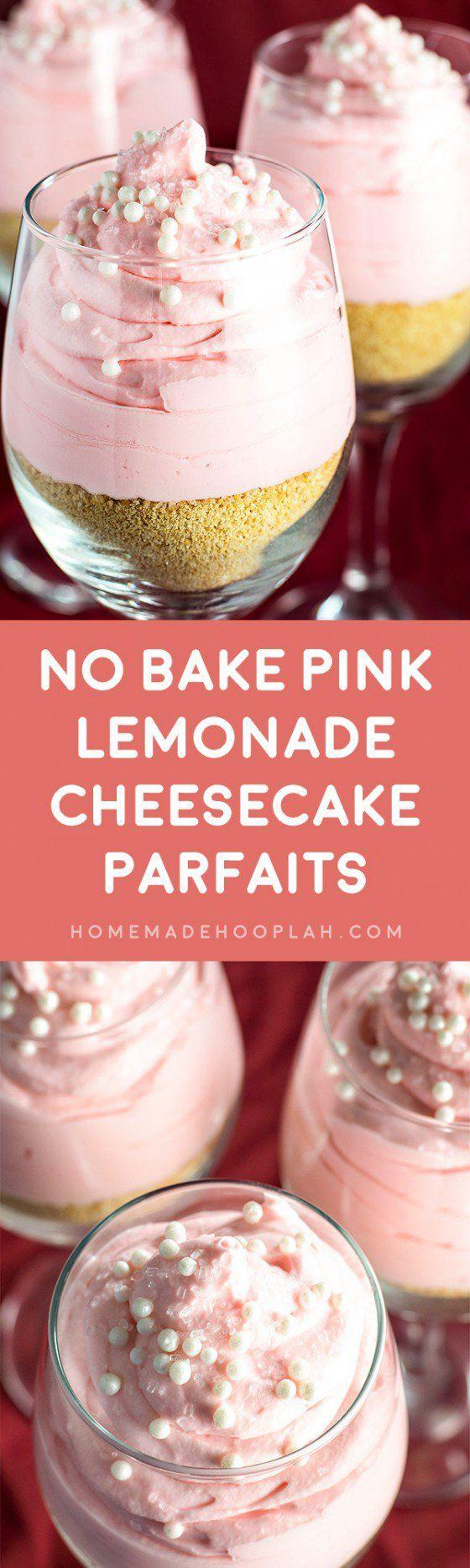 No Bake Pink Lemonade Cheesecake Parfaits! Single serve cheesecake parfaits with a hint of pink lemonade flavor. | HomemadeHooplah.com
