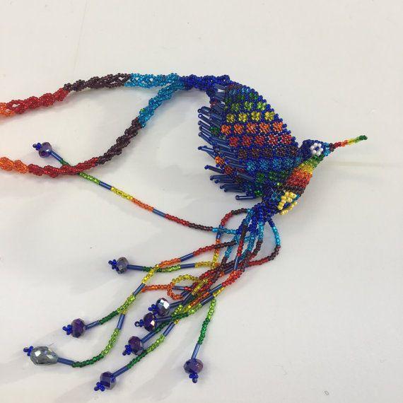 Gypsy Hippie Ethinic Hand Beaded Phoenix ketting zaad kraal geweven volkskunst Maya woodstock Latijns-Amerika in Mexicaanse stijl gemaakt in Guatemala 04