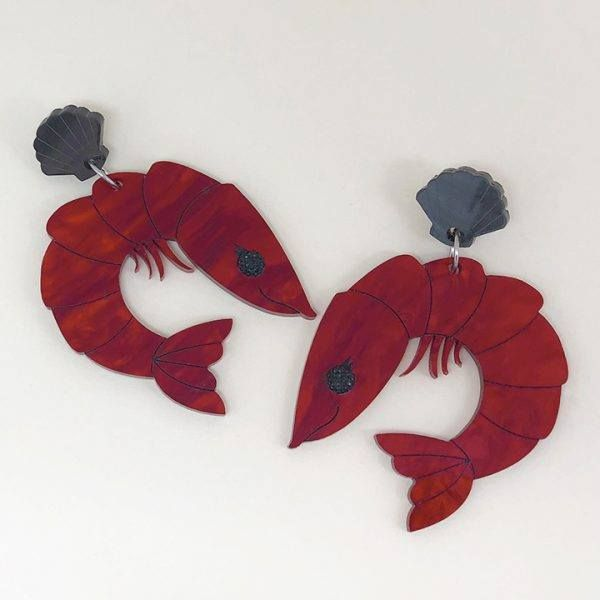 Peppy Chapette Perky Prawn Pam Earrings (Marble Red)