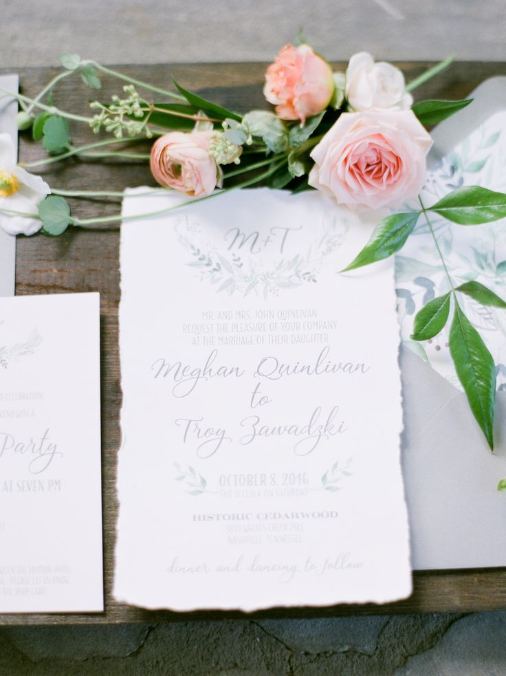 custom wedding invitations nashville%0A An Outdoor Cathedral ceremony  custom wood menus and torn edge paper goods  are just a few details of this swoonworthy Cedarwood wedding