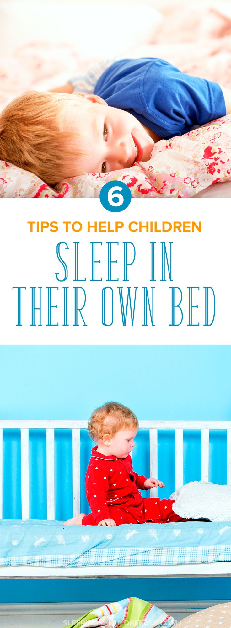 Awesome tips on getting your children to sleep in their own bed. Maybe your child refuses to sleep in her room, creeps into your bed, or is too afraid to sleep on her own. Don't worry—you can get yourself a solid night of sleep again, especially when you apply these 6 ideas to get your kids to sleep—and stay—in their own bed the whole night. Even includes a FREE printable, Transitioning to Fewer Naps, to record when your child is likely ready to take one less nap!