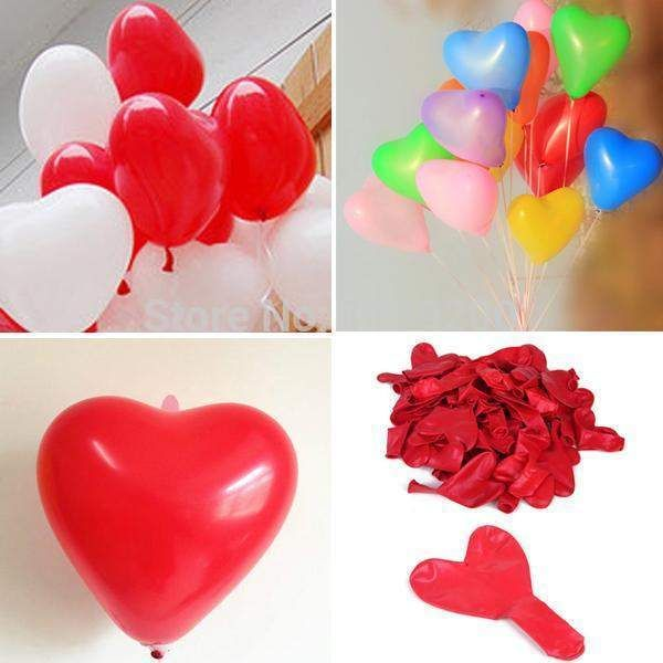 Wallmart.win 10pcs/lot Romantic Heart Shaped Love Latex balloons New Year Helium Balloons Wedding Party Valentines Day Inflatable Balls