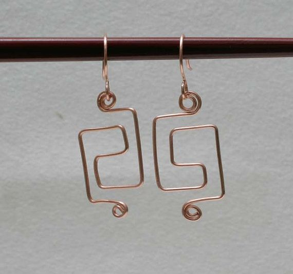 Copper Wire Wrapped Earrings by BeccsCreations on Etsy, $20.00