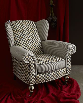 """""""Underpinnings"""" Classic Wing Chair by MacKenzie-Childs at Horchow."""
