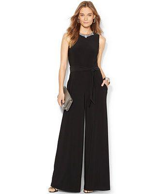 macy's Lauren Ralph Lauren Embellished Wide-Leg Jumpsuit